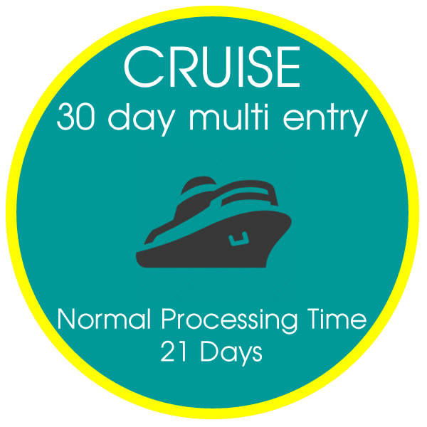 Cruise Visa 30 day Multiple Entry 21 Days Processing